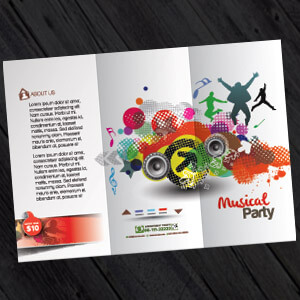 Folded Leaflet Printing and Design, an open graphic designed folded leaflet, folded leaflet printing from £35