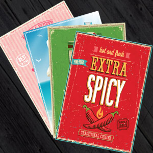 Leaflets spread out to show leaflet printing and design - 500 A5 leaflets from only £24