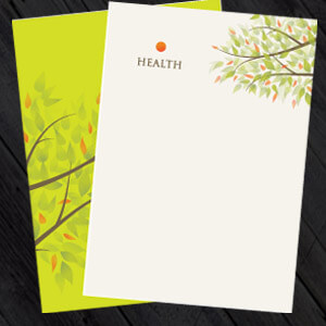 letterhead printing and design, white and green letterheads with a tree design on, 500 A4 from £28