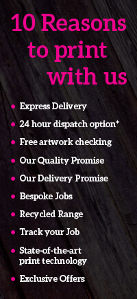 10 reasons to print with us, business cards, leaflet printing and design with 24hr dispatch