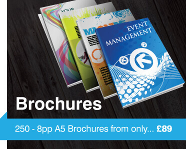 four coloured booklets, brochures overlapping to show brochure printing from £89