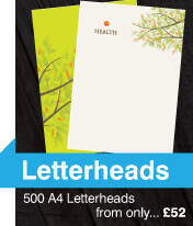letterhead printing and design, white and green letterheads with a tree design on, 500 A4 from £52